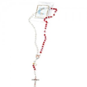 Red and white crystal rosary Merciful Jesus